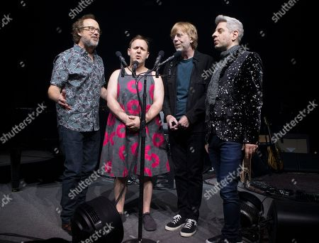 Stock Picture of Page McConnell, Jon Fishman, Trey Anastasio, Mike Gordon. Page McConnell, from left, Jon Fishman, Trey Anastasio and Mike Gordon of the band Phish perform during an exclusive concert for SiriusXM and Pandora listeners at The Met, in Philadelphia