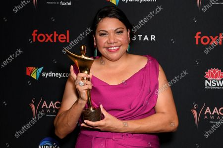 Stock Image of Deborah Mailman poses for photographs after winning the AACTA Award for Best Lead Actress in a Television Drama during the 2019 Australian Academy of Cinema and Television Arts Awards in Sydney, Australia, 04 December 2019.