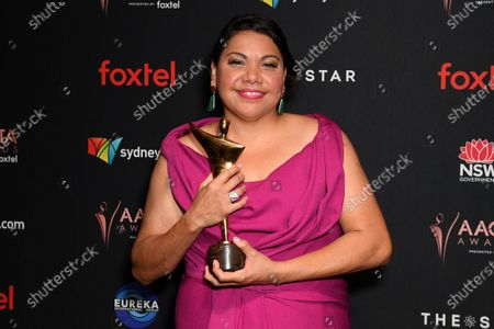 Deborah Mailman poses for photographs after winning the AACTA Award for Best Lead Actress in a Television Drama during the 2019 Australian Academy of Cinema and Television Arts Awards in Sydney, Australia, 04 December 2019.