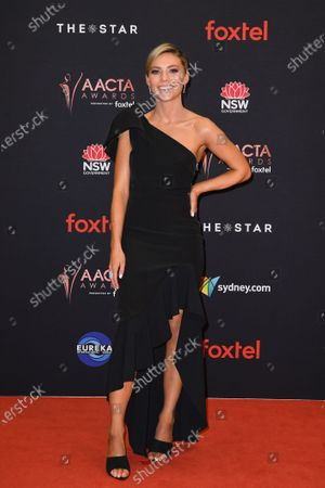 Sam Frost arrives at the 2019 Australian Academy of Cinema and Television Arts Awards in Sydney, Australia, 04 December 2019.