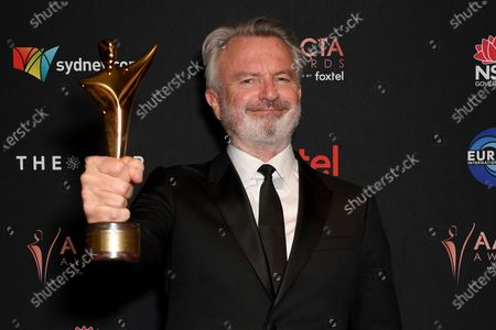 Northern Irish born-New Zealand actor Sam Neill poses for a photograph after winning the Longford Lyell Award at the 2019 Australian Academy of Cinema and Television Arts Awards in Sydney, Australia, 04 December 2019.