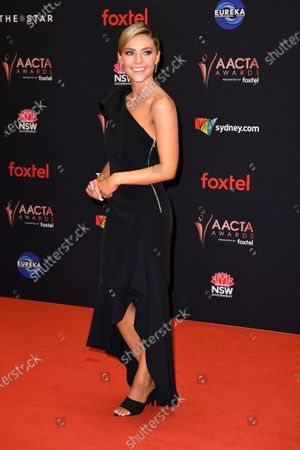 Australian TV actress Sam Frost arrives at the 2019 Australian Academy of Cinema and Television Arts Awards in Sydney, Australia, 04 December 2019.