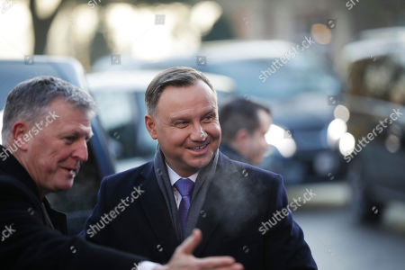 Poland's President Andrzej Duda arrives for a NATO leaders meeting at The Grove hotel and resort in Watford, Hertfordshire, England, . As NATO leaders meet and show that the world's biggest security alliance is adapting to modern threats, NATO Secretary-General Jens Stoltenberg is refusing to concede that the future of the 29-member alliance is under a cloud
