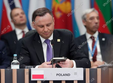 Polish President Andrzej Duda during NATO Summit in London, Britain, 04 December 2019. NATO countries' heads of states and governments gather in London for a two-day meeting.