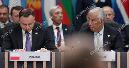 Polish President Andrzej Duda and Portugal's Prime Minister Antonio Costa (R) during NATO Summit in London, Britain, 04 December 2019. NATO countries' heads of states and governments gather in London for a two-day meeting.