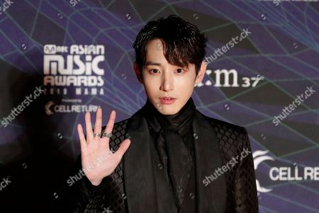 Stock Image of Actor Lee Soo Hyuk poses for photographers upon arrival at the Asian Music Awards in Nagoya, Japan