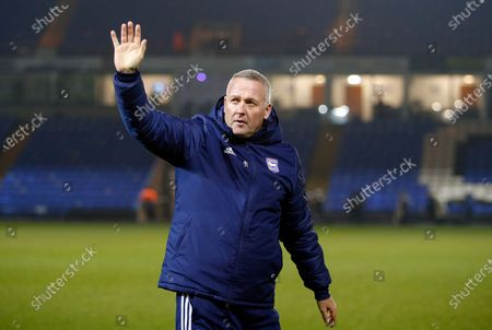 Ipswich Town Manager Paul Lambert waves to the crowd after victory