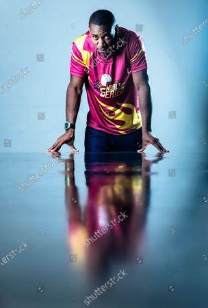 Stock Picture of Jamaican sprinter Yohan Blake poses during a profile shoot at Hindustan Times Mumbai office