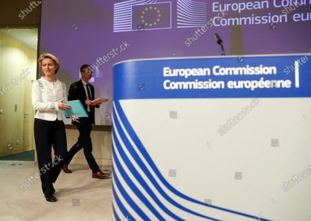 European Commission President Ursula Von Der Leyen (L) during the Read-out of the College meeting after the first weekly college meeting of the new European Commission in Brussels, Belgium, 04 December 2019.