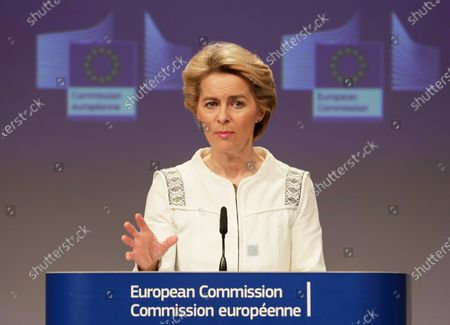 European Commission President Ursula Von Der Leyen during the Read-out of the College meeting after the first weekly college meeting of the new European Commission in Brussels, Belgium, 04 December 2019.