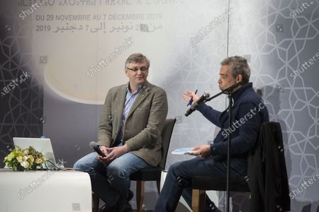 Sergei Loznitsa (L) attends the 'conversation with Joel Chapron' event during the 18th edition of the Marrakech International Film Festival, in Marrakech, Morocco, 04 December 2019. The film festival runs from 29 November to 07 December 2019.