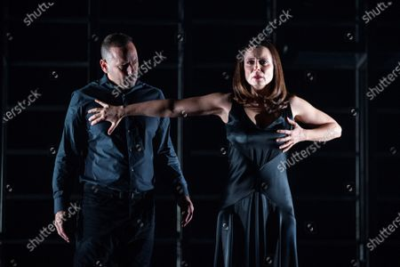 Aitana Sanchez Gijon (R) and actor Chevi Mudaray (L) perform during a rehearsal of the play 'Juana' (lit. Joan) at Espanol Theater in Madrid, Spain, 04 December 2019. The play represents the stories of Joan of Arch, Sister Joan Agnes of the Cross, Pope Joan, and Johanna the Mad through the texts written by Juan Carlos Rubio, Marina Seresesky and Clarice Lispector. The play will be premiered next 20 December 2019.