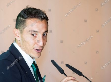 Real Betis' midfielder Andres Guardado speaks during a press conference after signing a new contract with the Spanish La Liga soccer club in Seville, Spain, 04 December 2019. Mexican midfielder Andres Guardado signed a new contract with Real Betis until 2022.