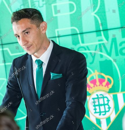 Real Betis' midfielder Andres Guardado attends a press conference after signing a new contract with the Spanish La Liga soccer club in Seville, Spain, 04 December 2019. Mexican midfielder Andres Guardado signed a new contract with Real Betis until 2022.