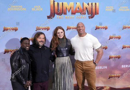Dwayne Johnson (R), Jack Black (2-L) and Kevin Hart (L) with Scottish actress and cast member Karen Gillan (2-R) pose for the media during a photocall ahead of the premiere of the film 'Jumanji: The Next Level' in Berlin, Germany, 04 December 2019. The movie will be released in Germany on 12 December 2019.