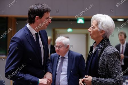Stock Image of Dutch Finance Minister Wopke Hoekstra (L) and European Central Bank (ECB) President Christine Lagarde during an EU Eurogroup finance ministers meeting at the European Council in Brussels, Belgium, 4 December 2019.