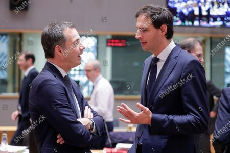 Belgian Minister of Finance Alexander De Croo (L) and Dutch Finance Minister Wopke Hoekstra during an EU Eurogroup finance ministers meeting at the European Council in Brussels, Belgium, 04 December 2019.