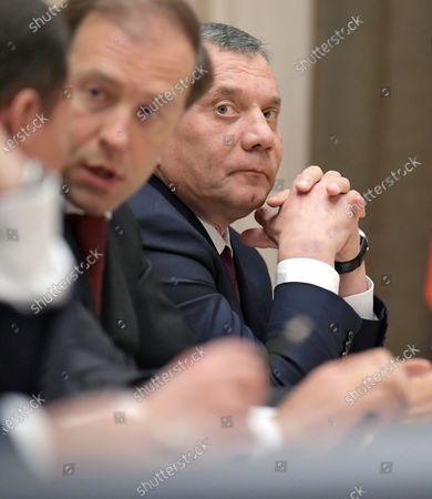 Minister of Industry and Trade of Russia Denis Manturov (left) and Deputy Prime Minister of Russia Yury Borisov (right) during the meeting on military construction and development of the military-industrial complex (MIC) at the Bocharov Ruchey residence.