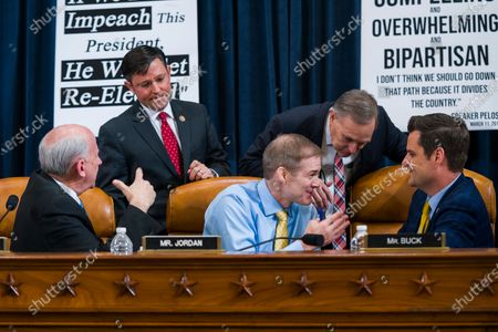 Republican Representatives Louie Gohmert (L), Michael Johnson (C-L), Jim Jordon (C,) Andy Biggs (C-R), and Matt Gaetz (R) huddle during a break in the US House Judiciary Committee hearing, 'The Impeachment Inquiry into President Donald J. Trump - Constitutional Grounds for Presidential Impeachment', in the Longworth House Office Building in Washington, DC, USA, 04 December 2019. The House Judiciary Committee, which has the job of formally drafting articles of impeachment, holds it's first open impeachment hearing following the adoption by the House Permanent Select Committee on Intelligence of a report drafted by Democrats that accuses US President Donald J. Trump of misconduct and obstruction. The report was drafted and adopted after a series of closed-door depositions and public hearings investigating a whistleblower's complaint alleging Trump requested help from the President of Ukraine to investigate a political rival, Joe Biden and his son Hunter Biden.