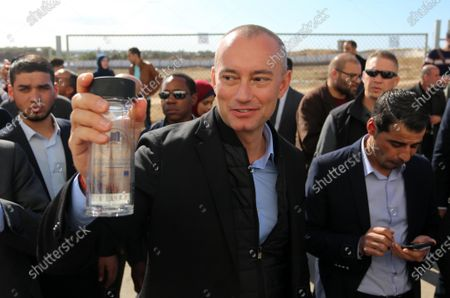 Stock Photo of Nikolay Mladenov, United Nations Special Coordinator for the Middle East Peace Process, arrives in Gaza to open the second and third phase of the desalination plant in Deir al-Balah central of Gaza Strip
