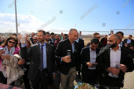 Stock Image of Nikolay Mladenov, United Nations Special Coordinator for the Middle East Peace Process, arrives in Gaza to open the second and third phase of the desalination plant in Deir al-Balah central of Gaza Strip