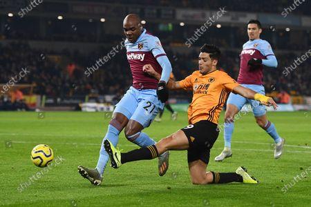 Raul Jimenez of Wolverhampton Wanderers has a shot.