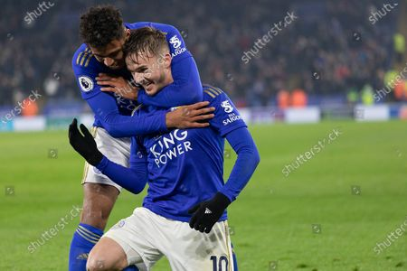 GOAL James Maddison (10) is congratulated by Ricardo Pereira (21) during the Premier League match between Leicester City and Watford at the King Power Stadium, Leicester