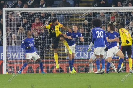 Troy Deeney (9) gets ahead of Jonny Evans (6) during the Premier League match between Leicester City and Watford at the King Power Stadium, Leicester