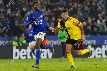 Troy Deeney (9) during the Premier League match between Leicester City and Watford at the King Power Stadium, Leicester
