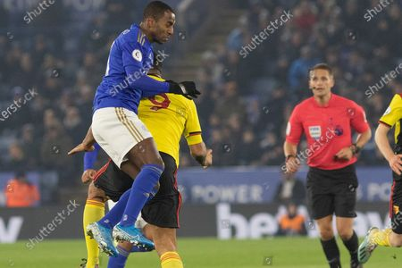 Ricardo Pereira (21) wins the header during the Premier League match between Leicester City and Watford at the King Power Stadium, Leicester