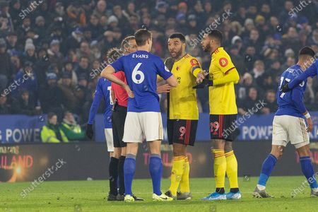Troy Deeney (9) & Etienne Capoue (29) with Jonny Evans (6)during the Premier League match between Leicester City and Watford at the King Power Stadium, Leicester