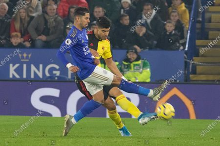 Ricardo Pereira (21) & Adam Masina (11) tangle for the ball during the Premier League match between Leicester City and Watford at the King Power Stadium, Leicester