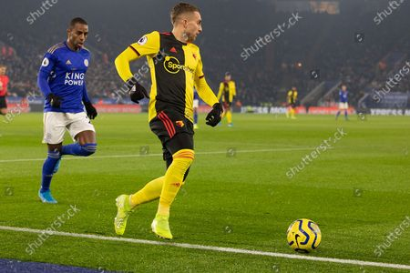 Gerard Deulofeu (7) persued by Ricardo Pereira (21) during the Premier League match between Leicester City and Watford at the King Power Stadium, Leicester