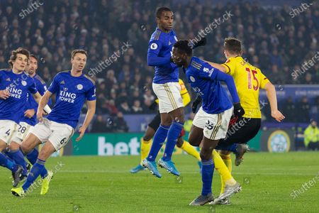 Ricardo Pereira (21) clears during the Premier League match between Leicester City and Watford at the King Power Stadium, Leicester
