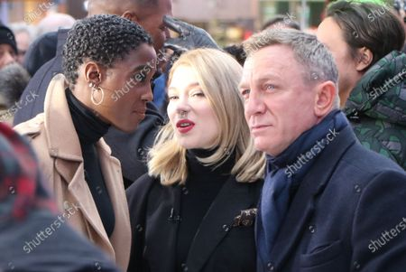 Lashana Lynch, Lea Seydoux and Daniel Craig
