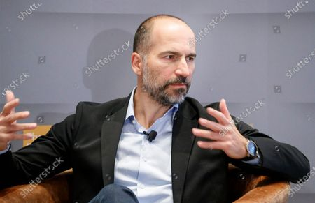Uber CEO Dara Khosrowshahi speaks during an event with members of the Economic Club of New York in New York, New York, USA, 04 December 2019.
