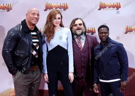 Dwayne Johnson (L), Jack Black (2-R) and Kevin Hart (R) with Scottish actress and cast member Karen Gillan (2-L) pose during the German premiere of 'Jumanji: Next Level' in Berlin, Germany, 04 December 2019. The movie will be released in Germany on 12 December 2019.