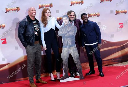 Dwayne Johnson (L), Jack Black (2-R) and Kevin Hart (R) with Scottish actress and cast member Karen Gillan (2-L) pose at the German premiere of 'Jumanji: Next Level' in Berlin, Germany, 04 December 2019. The movie will be released in Germany on 12 December 2019.