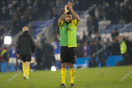 Troy Deeney (9) of Watford applauds the traveling supporters during the Premier League match between Leicester City and Watford at the King Power Stadium, Leicester