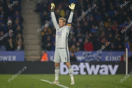 Kasper Schmeichel (1)of Leicester City during the Premier League match between Leicester City and Watford at the King Power Stadium, Leicester