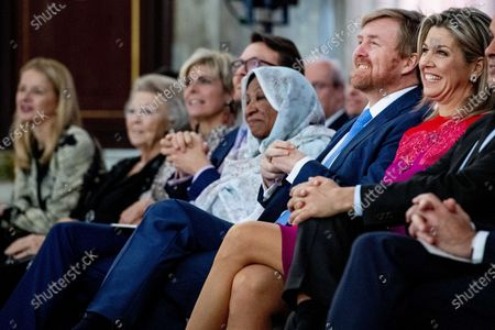 Dutch King Willem-Alexander (2-R), Queen Maxima (R), Princess Beatrix (2-L) Princess Mabel (L) and Prince Laurentien (C) attend the presentation of the Grand Prince Claus Award 2019 to visual artist Kamala Ibrahim Ishag (3-R) from Sudan, in Amsterdam, The Netherlands, 04 December 2019.