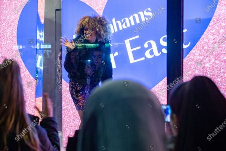 Stock Image of Fleur East arrives to switch on the stores Christmas lights