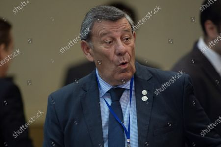 Uruguayan Foreign Minister Rodolfo Nin Novoa reacts during the opening of the Common Market Council (CMC) meeting, within the activities of the Mercosur summit, in Bento Goncalves, Brazil, 04 December 2019. The foreign ministers meeting precedes the summit that will bring together on 05 December the presidents of Argentina, Mauricio Macri, and Paraguay, Mario Abdo Benítez, and the Uruguayan Vice President, Lucia Topolansky, together with host president Jair Bolsonaro, in the Brazilian city of Bento Goncalves.