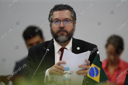 The Foreign Minister of Brazil, Ernesto Araujo, speaks during the opening of the Common Market Council (CMC) meeting, within the activities of the Mercosur summit, in Bento Goncalves, Brazil, 04 December 2019. The foreign ministers meeting precedes the summit that will bring together on 05 December the presidents of Argentina, Mauricio Macri, and Paraguay, Mario Abdo Benítez, and the Uruguayan Vice President, Lucia Topolansky, together with host president Jair Bolsonaro, in the Brazilian city of Bento Goncalves.
