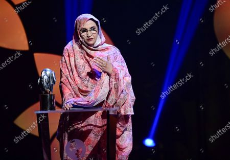 Aminatou Haidar, a nonviolent activist and human rights defender from Western Sahara, receives the 2019 Right Livelihood Award at Cirkus, in Stockholm, Sweden, 04 December 2019.