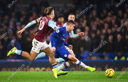 Chelsea's Mason Mount (R) in action against Aston Villa's Jack Grealish (L) during the English Premier League soccer match between Chelsea FC and Aston Villa at Stamford Bridge in London, Britain, 04 December 2019.