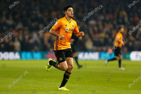 Raul Jimenez in action during the Premier League match between Wolverhampton Wanderers and West Ham United at Molineux, Wolverhampton