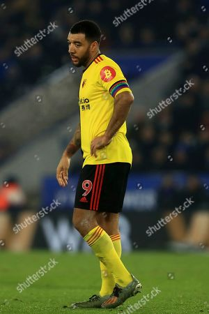 Watford's Troy Deeney during the English Premier League soccer match between Leicester City and Watford at the King Power Stadium, in Leicester, England