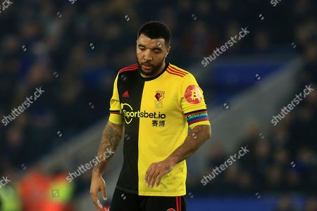 Watford's Troy Deeney dejected during the English Premier League soccer match between Leicester City and Watford at the King Power Stadium, in Leicester, England