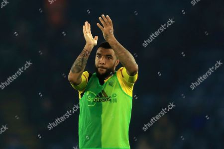 Watford's Troy Deeney applauds the traveling Watford fans after the English Premier League soccer match between Leicester City and Watford at the King Power Stadium, in Leicester, England